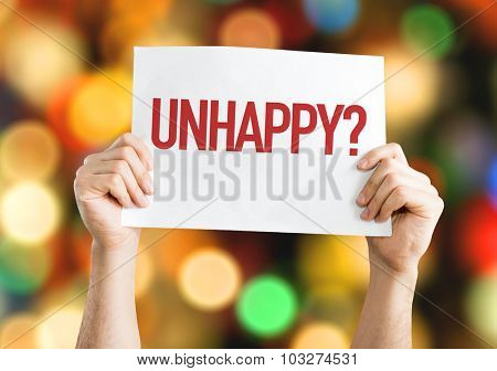 Unhappy? placard with bokeh background
