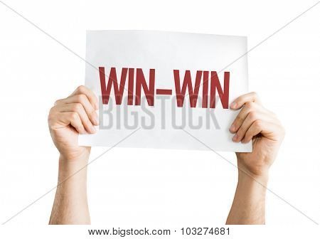 Win-Win placard isolated on white