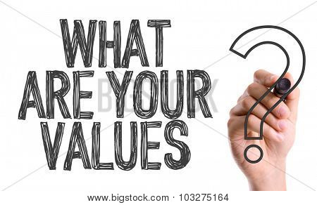 Hand with marker writing: What Are Your Values?
