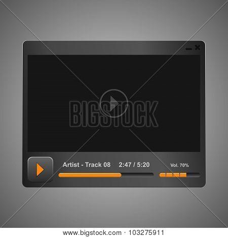 Vector grey audio, video player
