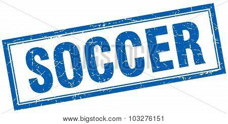 Soccer Blue Square Grunge Stamp On White
