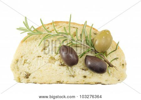 Olive Bread Slice Isolated