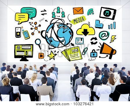 Business People Global Media Technology Seminar Concept