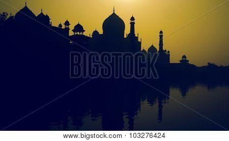 Sunset Silhouette Grand Taj Mahal Tourist Attraction Concept