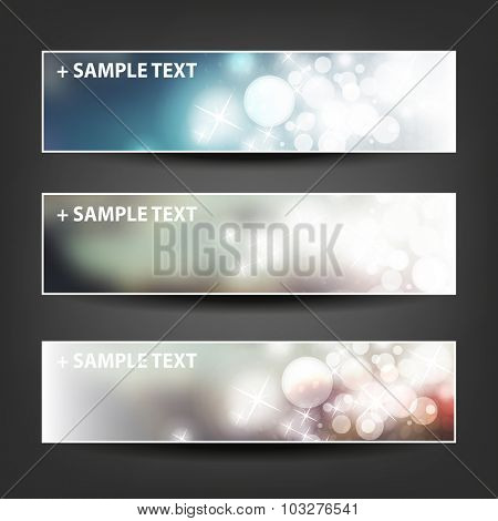 Set of Horizontal Banner / Cover Background Designs - Colors: Blue, Brown, White - Party, Christmas, New Year or Other Holiday Ad Banner Templates