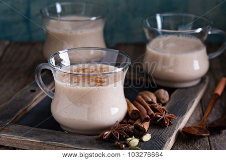 Warm masala tea with spices
