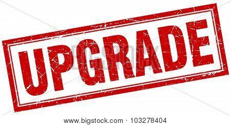 Upgrade Red Square Grunge Stamp On White