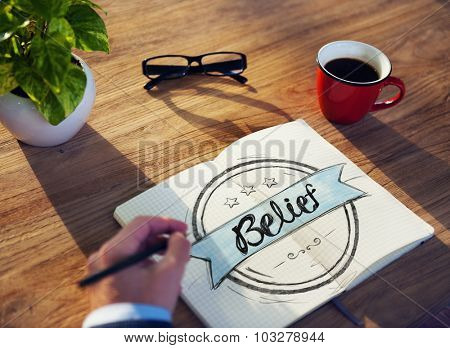 Businessman Writing the word