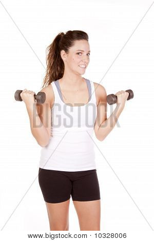 Woman White Tank Top With Weights Up