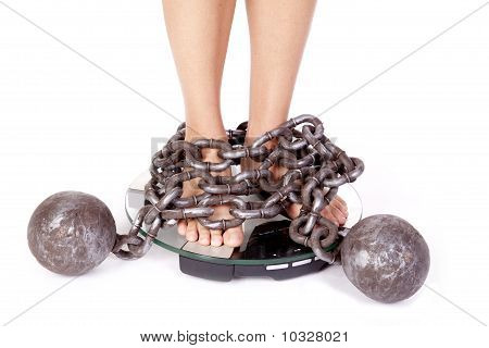 Womans Feet On Scales Chained