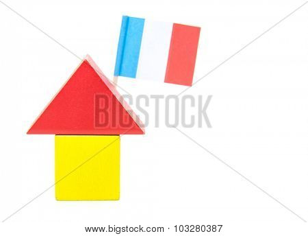 Stylized home with french flag. All on white background