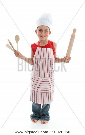 Little Chef Holding Kitchen Utensils