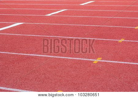Yard Line, Running Track, Athletics Track, A Red, White Ground.