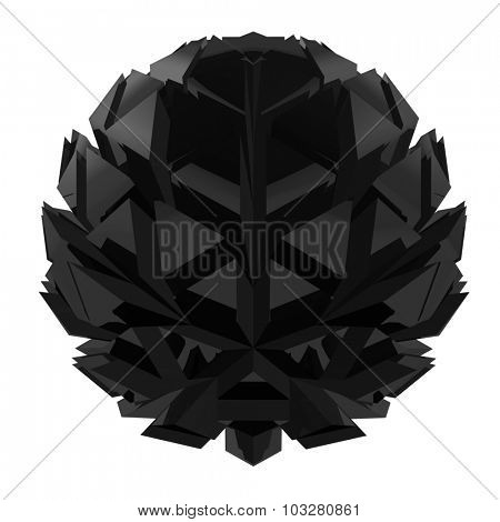 Abstract spherical triangle polygon black flower isolated on white background.