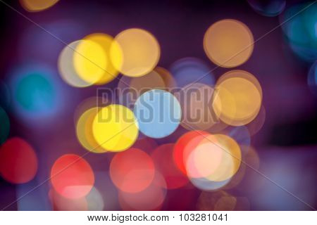 Abstract Circular Bokeh Background Of Christmaslighti