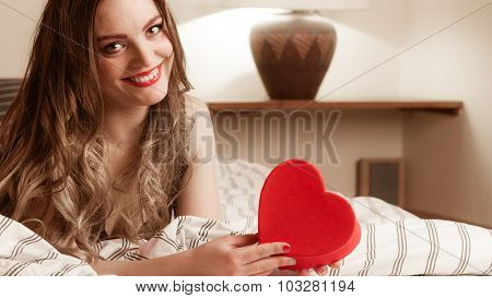 Happy Woman In Lingerie Bed. Valentines Day Love