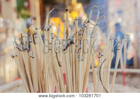 Burning Incense In  Temple