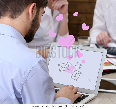 Businessman checking email