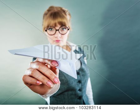 Fly Fear. Woman Holding Airplane In Hand.
