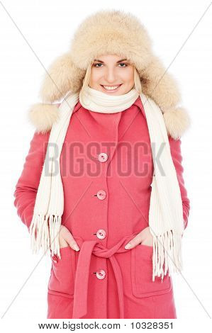 Woman In Pink Coat And Fur Hat