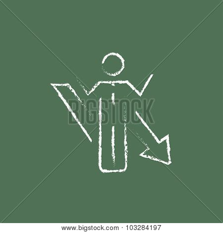 Businessman with arrow down hand drawn in chalk on a blackboard vector white icon isolated on a green background.