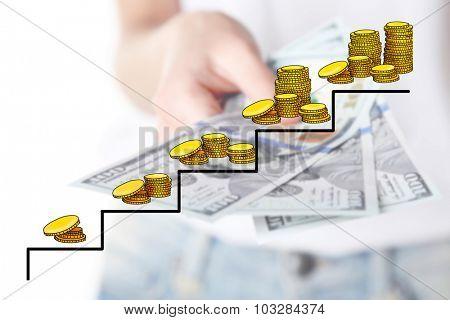 Money concept. Female hand holding dollars