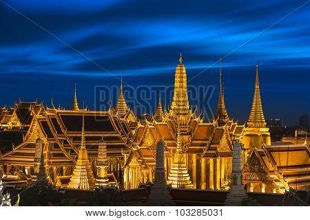 Temple Of The Emerald Buddha At Dusk, Wat Phra Kaew (thailand)