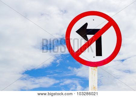 No turn left traffic sign