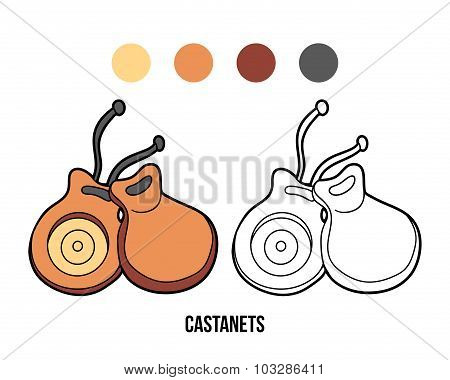 Coloring Book For Children: Music Instruments (castanets)