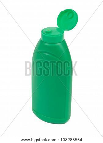 Green plastic bottle for ketchup, mayonnaise, mustard or other s