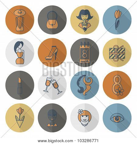 Womans Day Icon Set