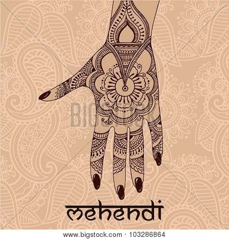 Illustration With Mehendi Drawing On Woman`s Hand