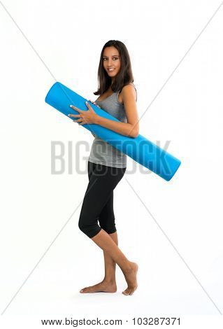 Young woman ready to do Fascia Training. Fascia Training describes sports activities and movement exercises that attempt to improve the functional properties of the muscular connective tissues.