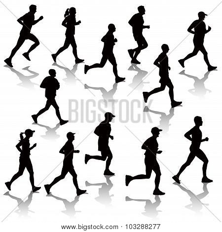 Silhouettes Of Running People