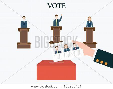 Candidates Standing At Podium