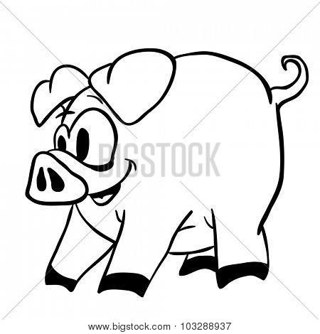 black and white pig cartoon illustration