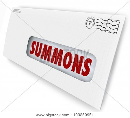 Summons word on an envelope or letter being served to offficially notify you of an obligation to appear in court for jury duty, a legal case or lawsuit