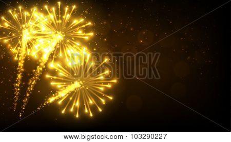 Festive gold firework background. Vector illustration.