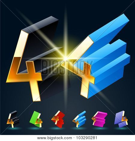3D vector futuristic luxury alphabet with gold. All symbols in set have 8 random points of view and 6 different colors. Number 4
