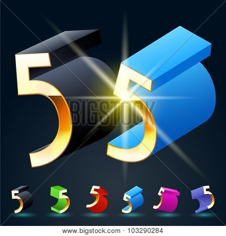 3D vector futuristic luxury alphabet with gold. All symbols in set have 8 random points of view and 6 different colors. Number 5