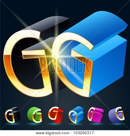 3D vector futuristic luxury alphabet with gold. All symbols in set have 8 random points of view and 6 different colors. Letter G