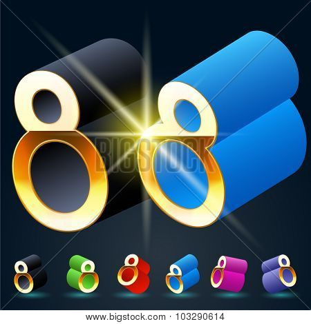 3D vector futuristic luxury alphabet with gold. All symbols in set have 8 random points of view and 6 different colors. Number 8