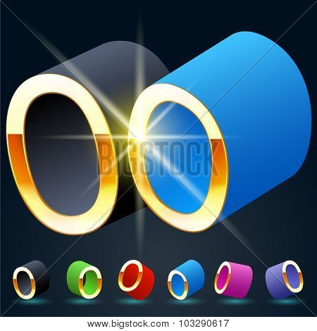 3D vector futuristic luxury alphabet with gold. All symbols in set have 8 random points of view and 6 different colors. Number 0