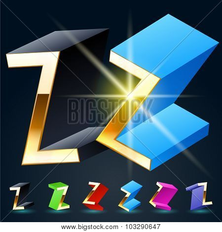 3D vector futuristic luxury alphabet with gold. All symbols in set have 8 random points of view and 6 different colors. Letter Z