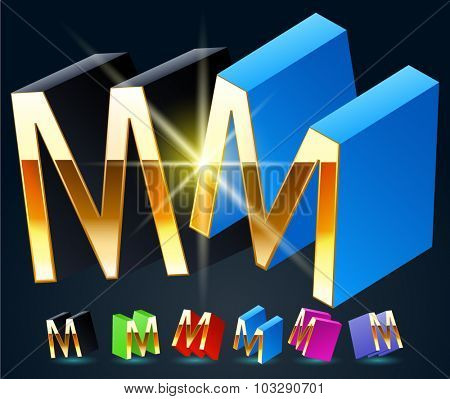 3D vector futuristic luxury alphabet with gold. All symbols in set have 8 random points of view and 6 different colors. Letter M