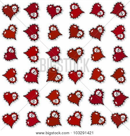 Seamless Pattern With Ornate Red Hearts And Skulls