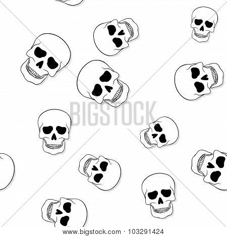 Seamless Pattern With Skulls On White