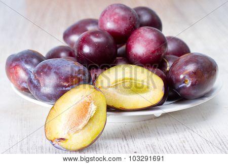 Ripe juicy plum and cherry plum