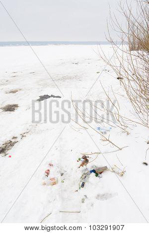 Pile Of Debris On The White Snow