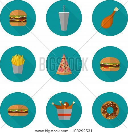 Fast Food Icon Design. Flat Icons Of Junk Food Isolated On White. Illustration Of Unhealthy Food, Di